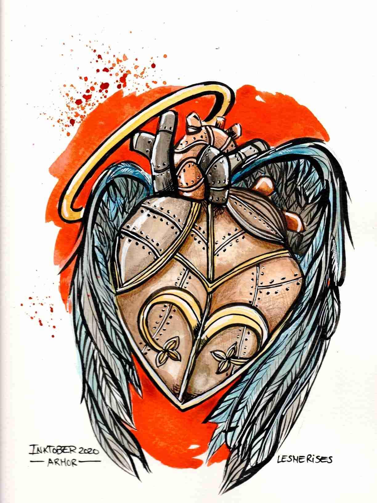 Aquarelle illustration armor