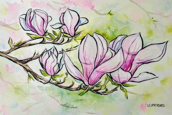 Aquarelle illustration fleurs mauves