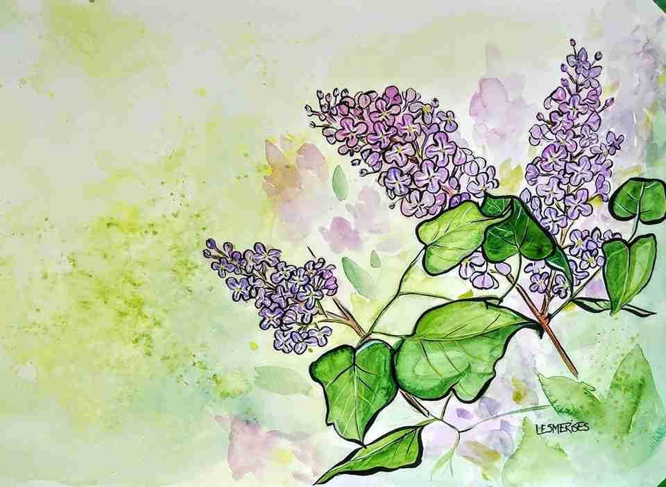 Aquarelle illustration lilas
