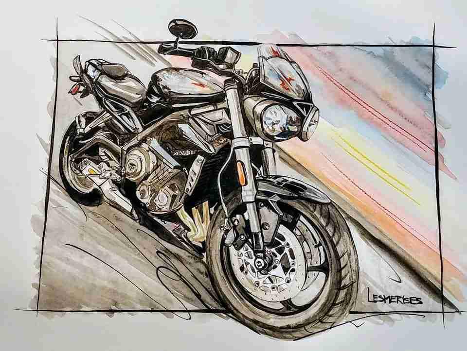 Aquarelle illustration moto