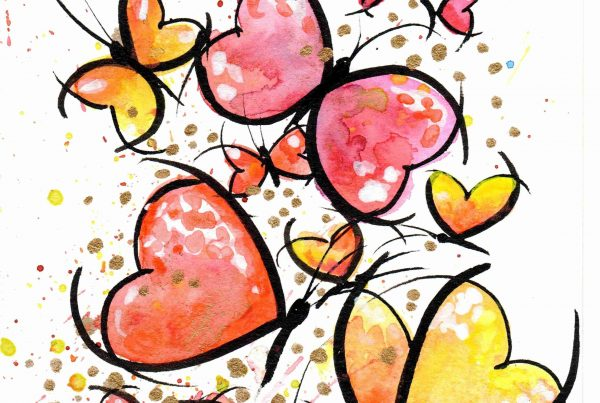 Aquarelle illustration papillons rouges et jaunes