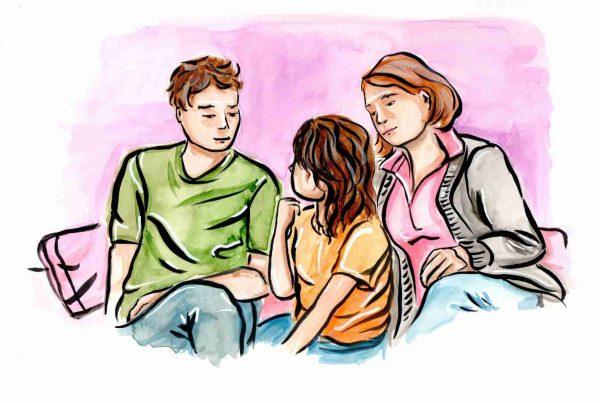 Aquarelle illustration parents qui lui annoncent