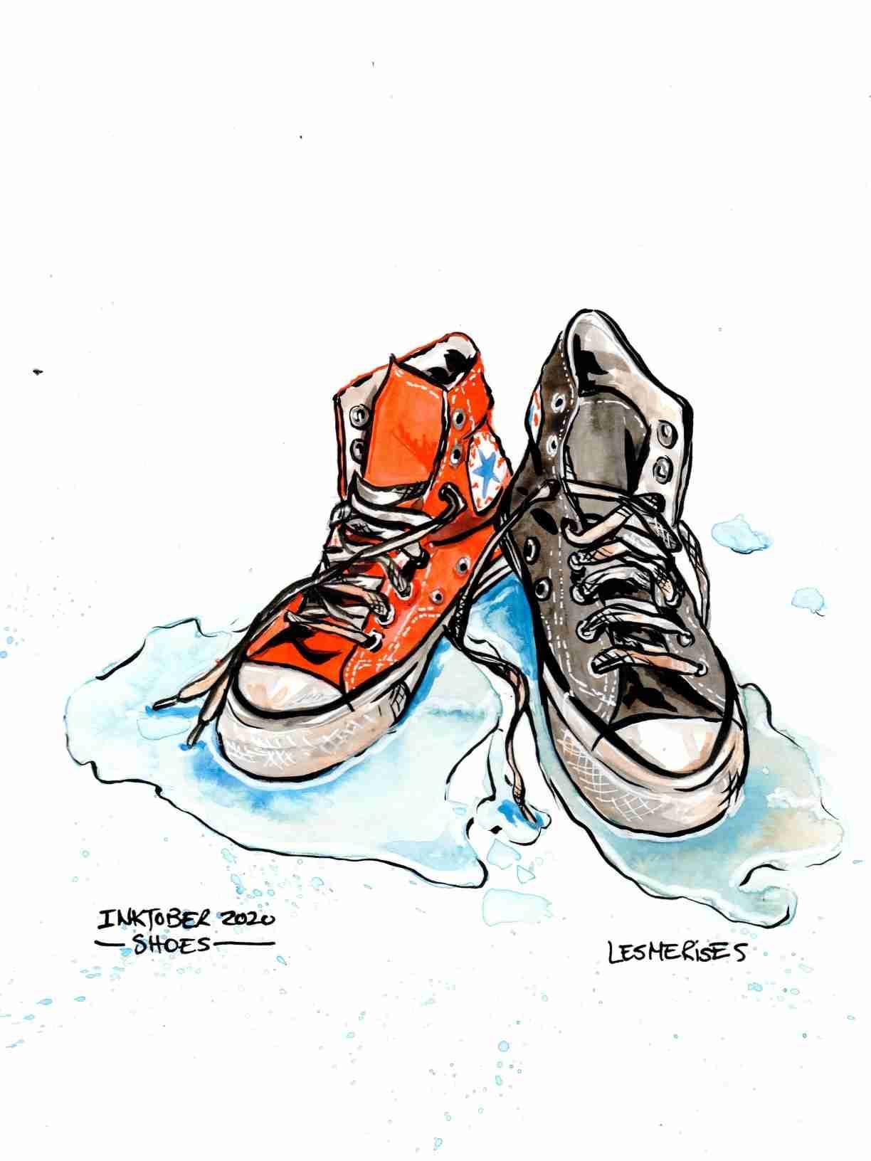 Aquarelle illustration shoes