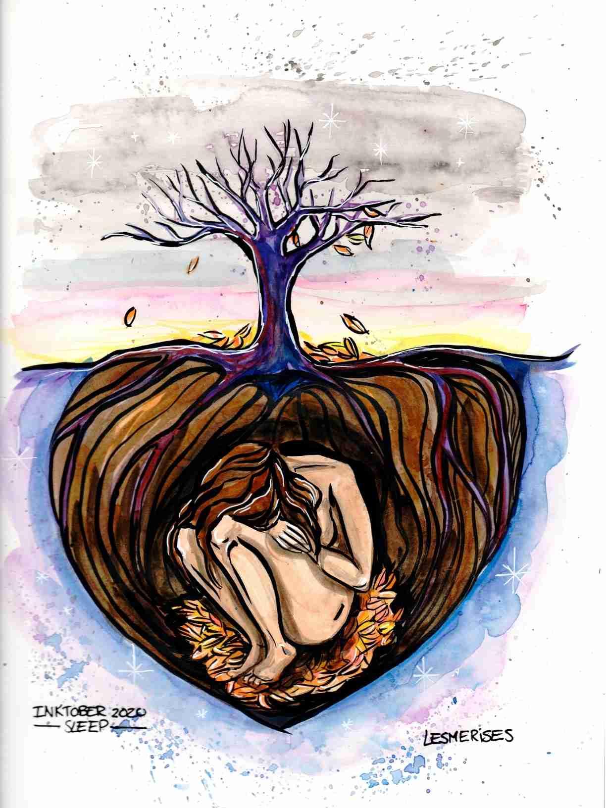 Aquarelle illustration sleep