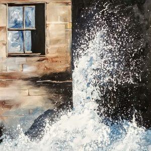 Barrage oeuvre peinte à l'acrylique sur toile