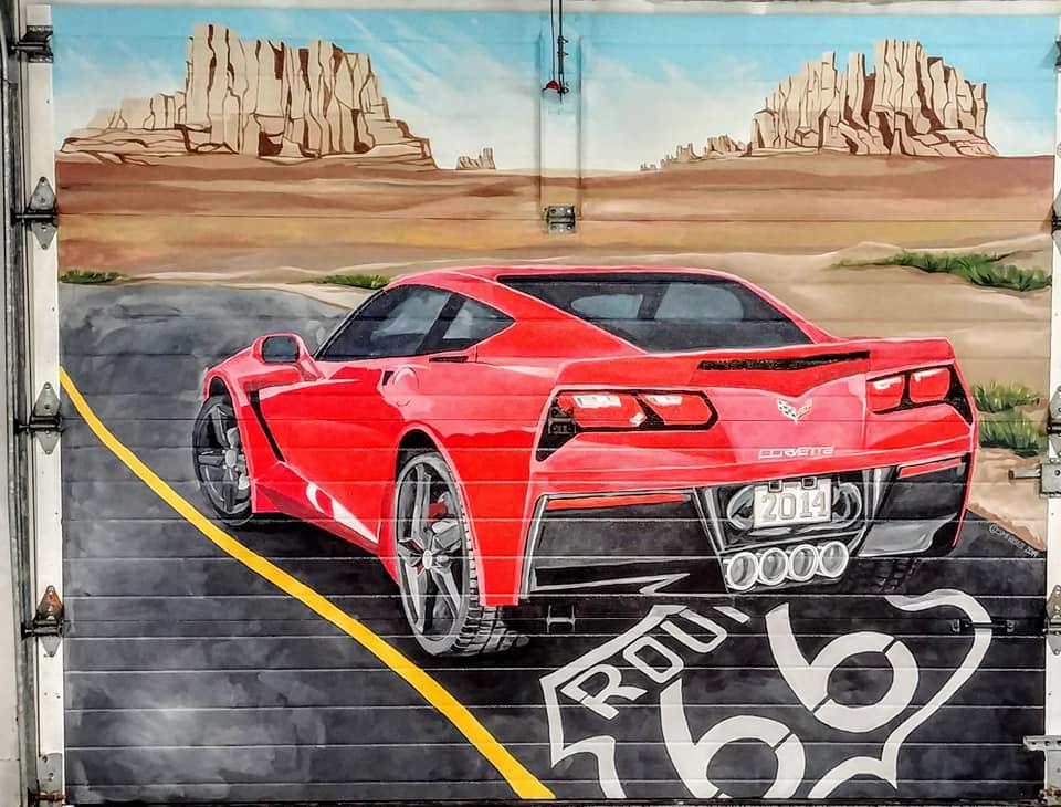Murale Corvette sur route 66
