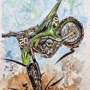 Aquarelle d'une motocross Kawasaki