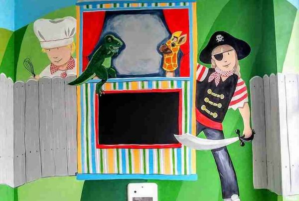 Murale dans un commerce spectacle de marionnettes