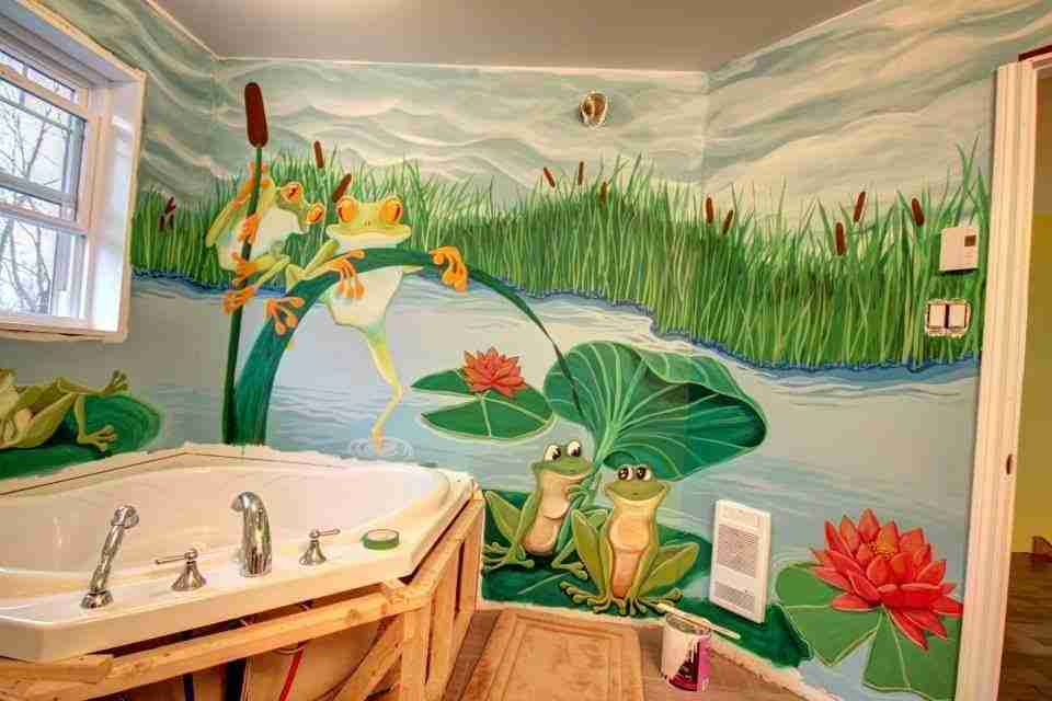 Murale salle de bain grenouilles