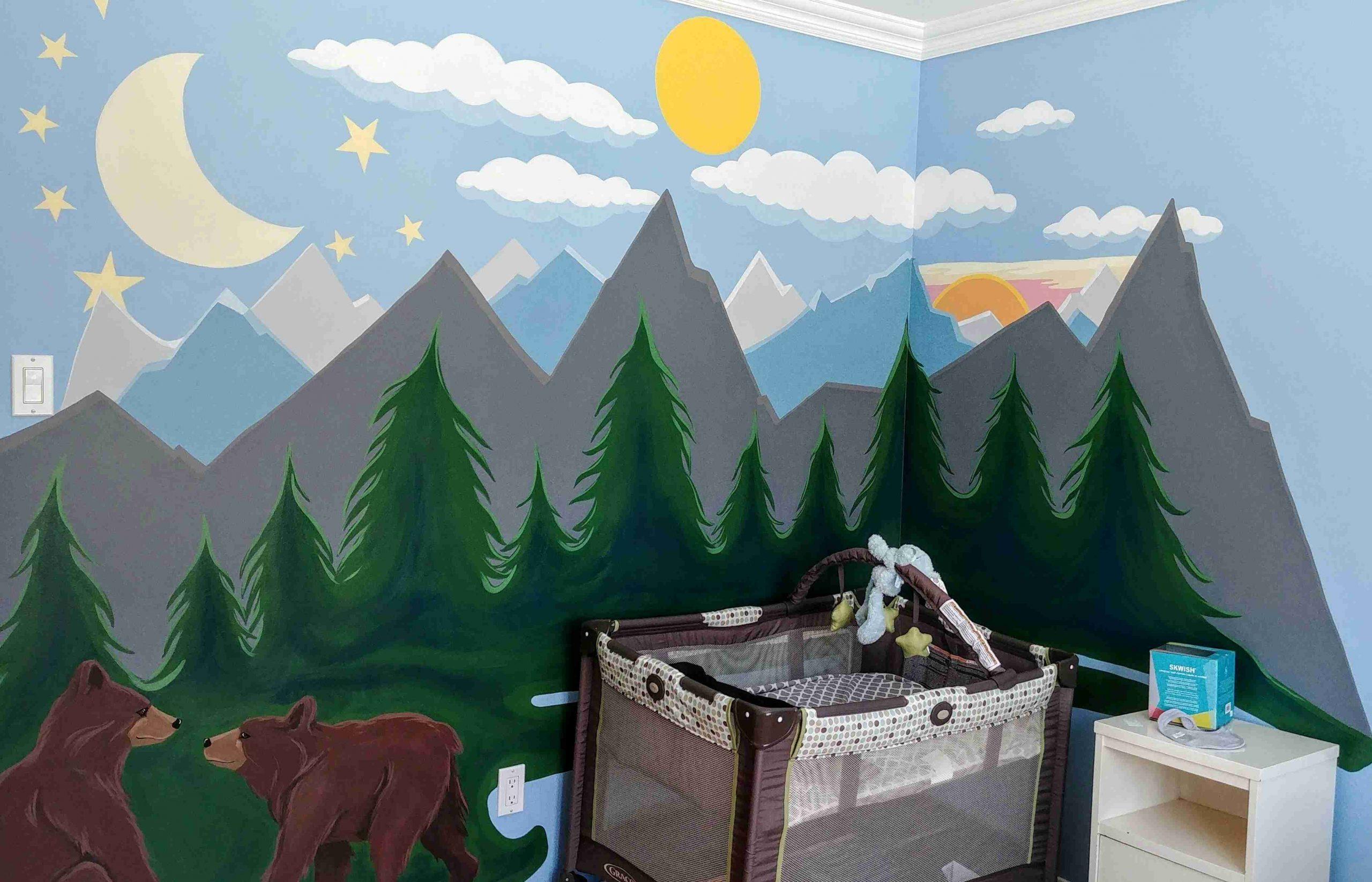 Murale chambre ours et montagnes