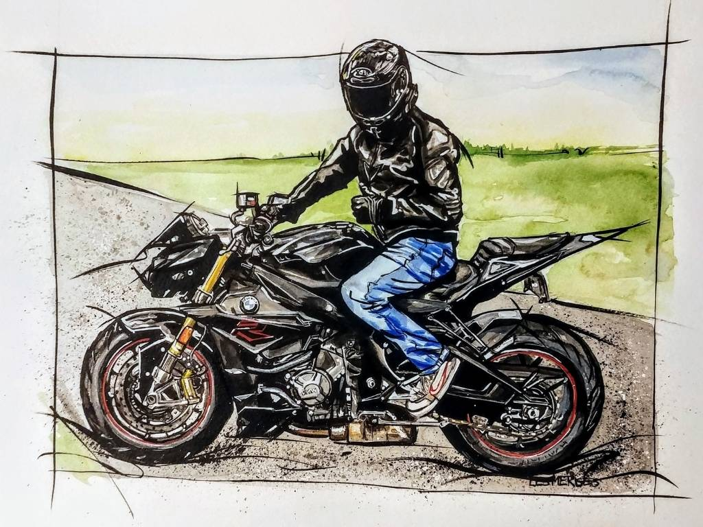 Aquarelle moto BMW