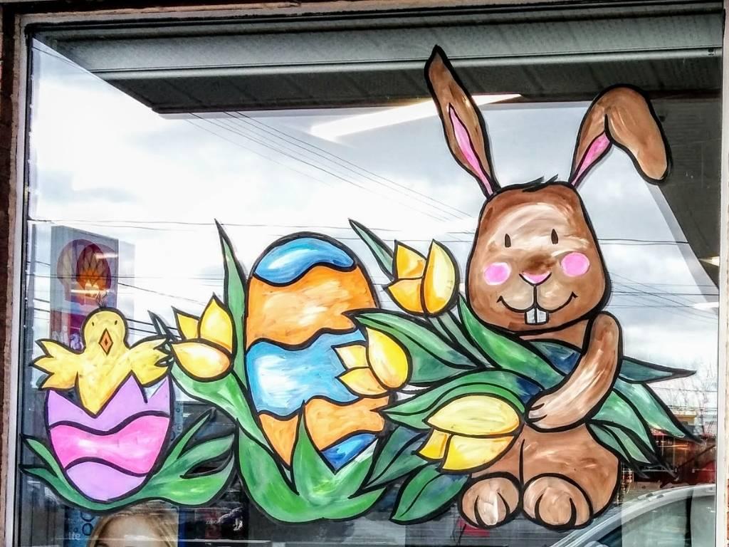Vitrine peinte lapin de Pâques