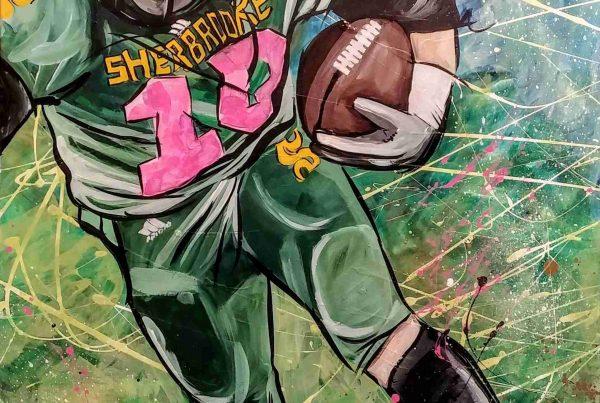 Toile joueur de football - cancer du sein