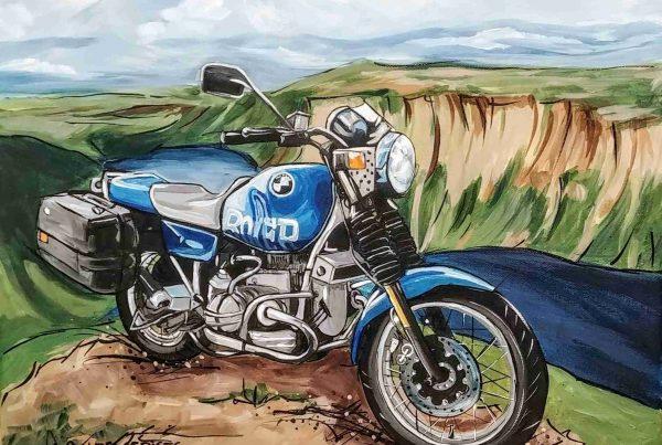 Toile moto bleue