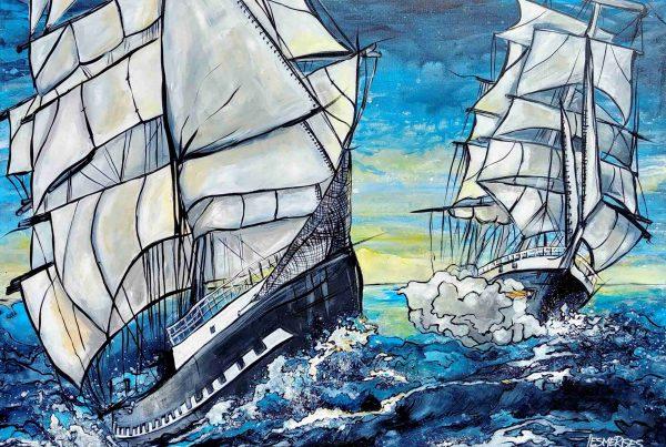 Toile navires et vagues