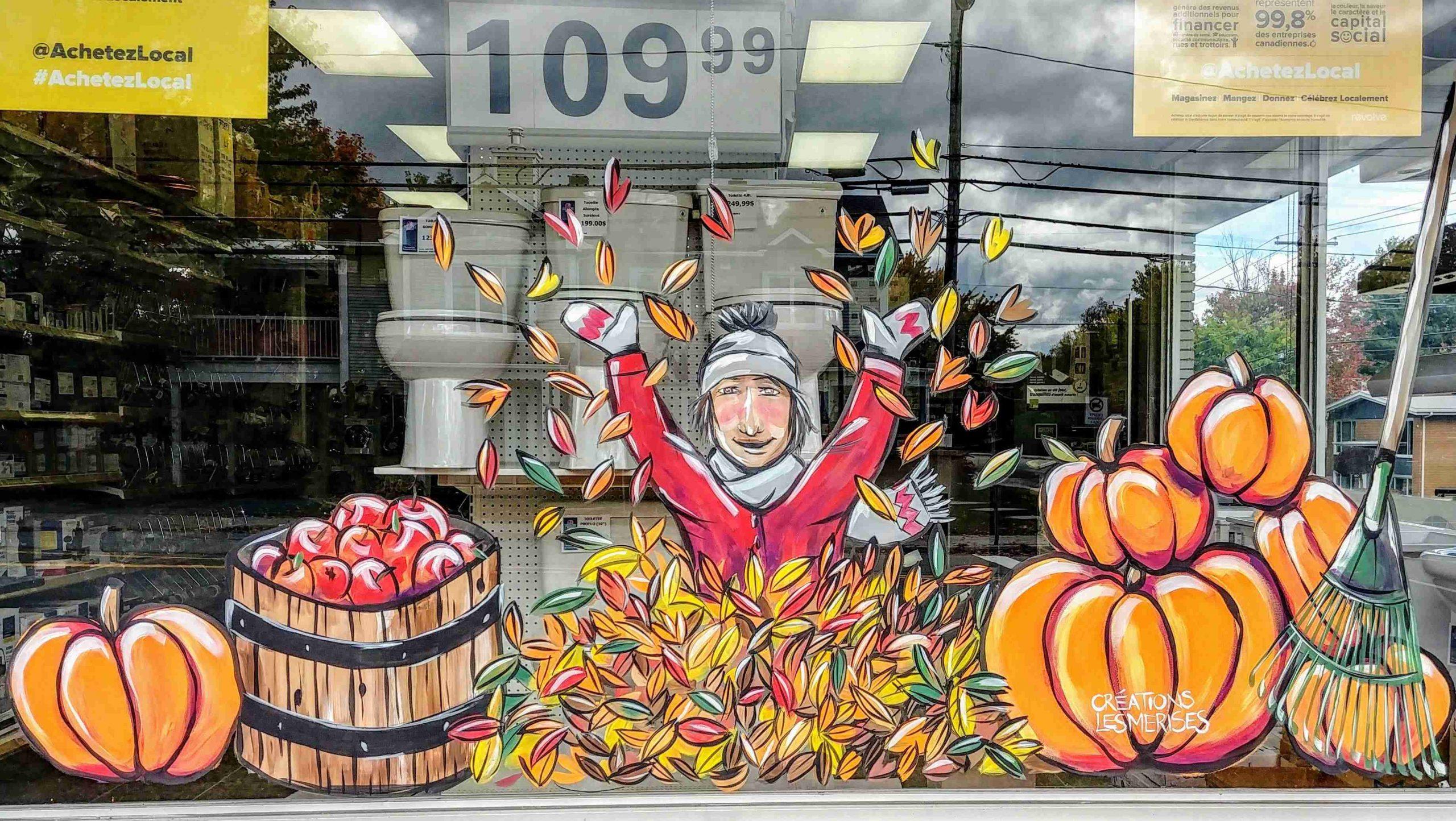 Vitrine peinte à la main thème automne